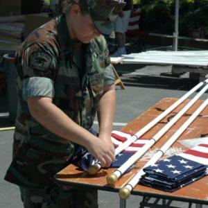 FOH Naval Cadet working on flag
