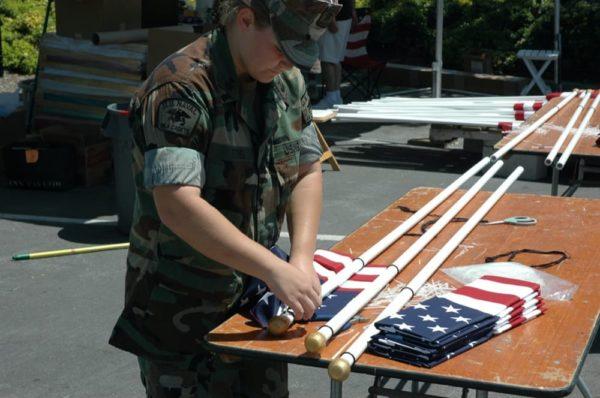 FOH Naval Cadet working on flag